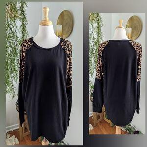 Pinkblush | leopard print long sleeve sweater | 1X